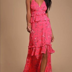 Fuchsia Pink Floral Print Ruffled Maxi Dress NWT